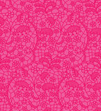 Pink lace vector fabric seamless pattern Royalty Free Stock Images