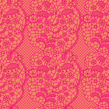 Pink lace vector fabric seamless pattern Royalty Free Stock Image