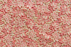 Pink lace on white background. No any trademark or restrict matter in this photo.  Royalty Free Stock Photos