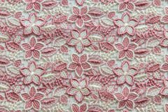 Pink lace on white background. No any trademark or restrict matter in this photo.  Stock Images