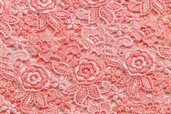 Pink lace on white background. No any trademark or restrict matter in this photo.  Stock Photo