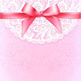 Pink lacy vintage wedding greeting card template Stock Photos
