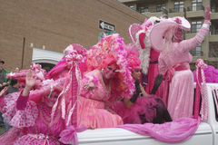 Pink Ladies in the Asheville Mardi Gras Parade Stock Photos