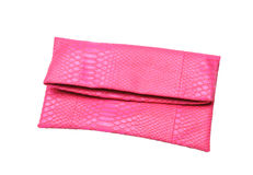 Pink ladies bag on a white background. Stock Photo