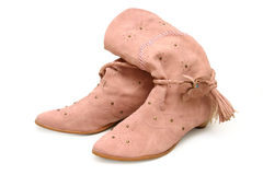 Pink ladies? boots Stock Images