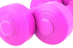 Pink ladies dumbbells. Isolated against white Stock Photography