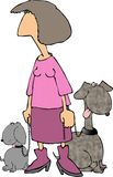 Pink Lady with 2 Dogs. This illustration that I created depicts a woman in pink with 2 dogs on a leash