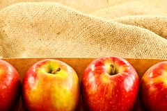 Pink Lady Apples and Burlap Royalty Free Stock Photo