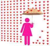 Pink lady in love rain Stock Photo