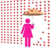 Pink lady in love rain Stock Photo