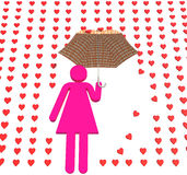 Pink lady in love rain Stock Image
