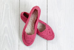 Pink Lady Shoes on White Wood Royalty Free Stock Images