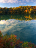 Pink lake on an autumn morning Stock Photo