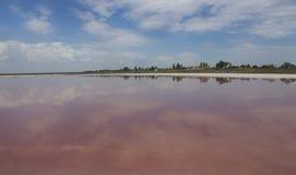 Pink lake. Pink salt lake with sky reflection Stock Photo