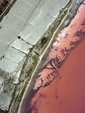 Pink Lake. Top view from flying drone of pink lake Sasiq in Crimea Stock Photo