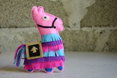 Free Pink Lama. Toy From Felt With Your Own Hands. DIY Concept For Children. Handmade Crafts. Step 6. Finished Toy Stock Photo - 158428950