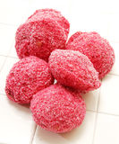 Pink Lamington Snowballs Royalty Free Stock Images