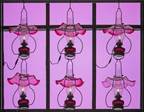 Pink lamps. The lighting of pink lamp on window Stock Photo