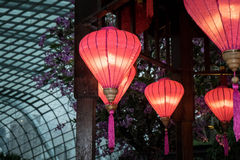 Pink lanterns hanging in a gazebo. Display in gardens by the bay, Singapore Stock Photos
