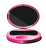 Pink laptop. On a white background isolated lady laptop pink oval Stock Images
