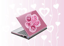 Pink laptop. Glamour illustration of the pink laptop with roses Stock Image
