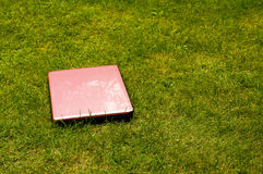 Pink laptop computer outside Royalty Free Stock Photo