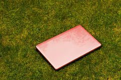Pink laptop outside Royalty Free Stock Photos