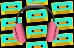 Pink large full-sized headphones for listening to music on the background of old retro vintage hipster audio cassettes from the 80. `s, 90`s. Vector illustration Royalty Free Stock Image