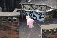 Pink Laundry with Graffiti, New York City Stock Photography