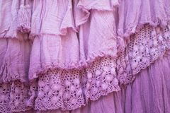Pink layers of frilled gauze and lace background. Selective focus royalty free stock images
