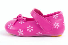 Pink leather baby shoe stock photography