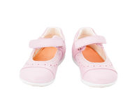 Pink leather baby shoes. Royalty Free Stock Photo