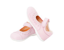 Pink leather baby shoes. Stock Image
