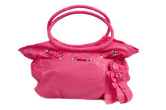 Pink leather bag. Isolated on white background Royalty Free Stock Images