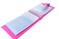 Pink leather bag. Pink bank book holder, Pink leather bag Stock Images