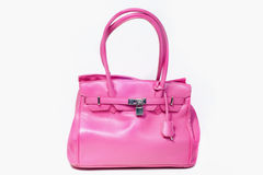 Pink Leather bag. Pink Leather lady women fashionable bag Royalty Free Stock Images