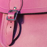 Pink leather bag closeup Royalty Free Stock Images