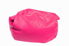 Pink leather beanbag isolated on white Stock Photography