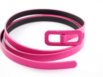 Pink leather belt for lady, modern style Stock Photo