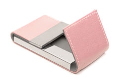 Pink leather business card holder Stock Images