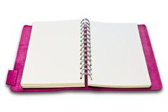 Pink leather case notebook isolated Stock Image