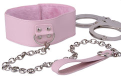 Pink leather collar and handcuffs Stock Images