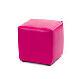 Pink leather foot stool ottoman Stock Image