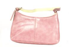 Pink leather handbag Stock Photo