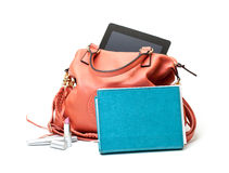 Pink Leather Ladies Handbag with Tablet PC Stock Photography