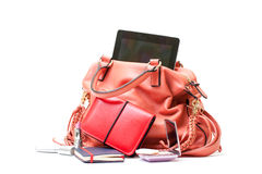 Pink Leather Ladies Handbag with Tablet PC Royalty Free Stock Image