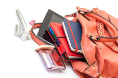 Pink Leather Ladies Handbag with Tablet PC Stock Photo