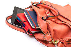 Pink Leather Ladies Handbag with Tablet PC Royalty Free Stock Photography