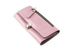 A pink leather lady purse Stock Photos