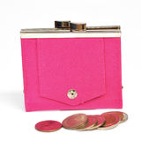 Pink leather purse Stock Photography